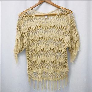 Chico's Crochet knit Sweater Pull over Top